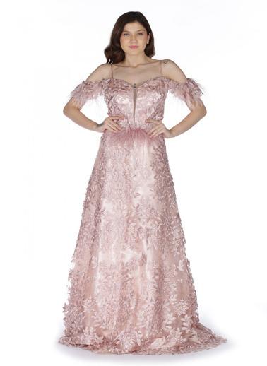 Pierre Cardin 3 Boyutlu Uzun Abiye Elbise Pudra